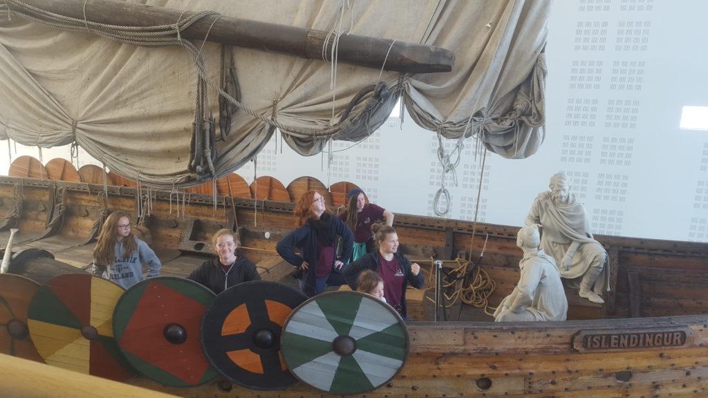 Travel troop on boat