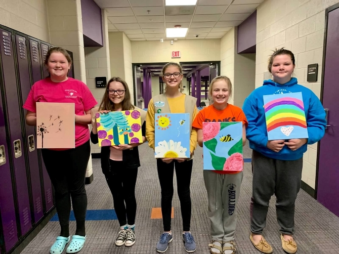 Girl Scouts Donate Original Artwork for Hospice Patients to Local Facility